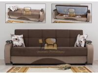 BRAND NEW Zoltan Persian Fabric 3 Seater Sofa Bed Settee with Ottoman Storage & Pocket Sprung Seats