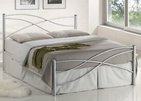 BRAND NEW Italian design double metal bed in silver