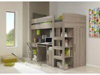 GAMI MONTANA 'OAK' MEZZANINE BED. High Sleeper. Loft Cabin Single Bed. NEW MATTRESS! VGC!!! £250ono