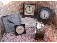 CLOCKS INC MANTLE AND BEDSIDE ETC. SOME ANTIQUE. NEED REPAIR OR NEW ELECTRIC MECHANISMS INSTALLED