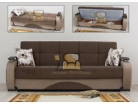 BRAND NEW Persian Fabric 3, 2, 1 Seater Sofa Bed with Ottoman Storage and Pocket Spring Seats