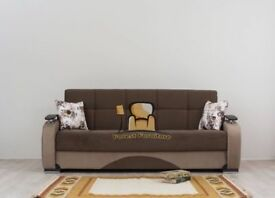 NEW HAND MADE PERSIAN FABRIC 3 SEATER SOFA BED WITH OTTOMAN STORAGE IN BLACK BROWN COLOR SOFABED