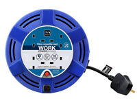 Blue Masterplug Medium Cassette Reel with Thermal Cut-Out and Reset Button, 4 Socket, 10 m