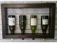 Chunky 4 bottle wall mounted wine rack in jacobean dark oak wax finish