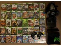 Xbox 360 250gb, kinect, 41 games, 3 controllers plus steering wheel