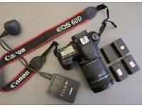 CANON 60D DSLR WITH 18-135 ZOOM LENS FOR PHOTO AND VIDEO RECORDING