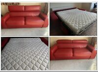 DFS leather sofa bed reclining headrest RED