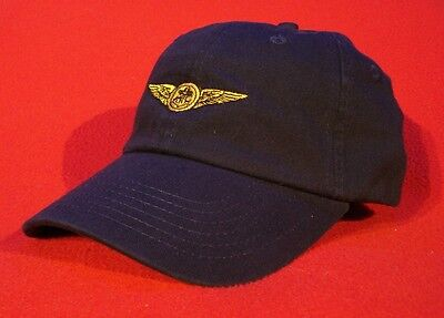 NAVAL AIR CREW Aviator Wings Ball Cap, BLUE low-profile embroidered hat