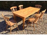 6ft Farmhouse Pine Table and Chairs