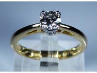 "IGI Certified ""LEO Diamond"" 18k Yellow Gold 0.34ct Diamond Solitaire Engagement Ring rrp £2,300"