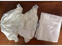 Two Claire de Lune fitted Moses Basket sheets and cellular blanket