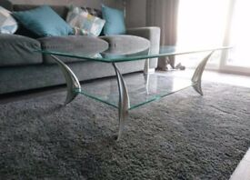 Glass table and 2 side tables