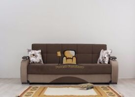 BRAND NEW 3 Seater Persian Fabric Sofa Bed with Storage and Pocket Sprung Seats in Brown and Black