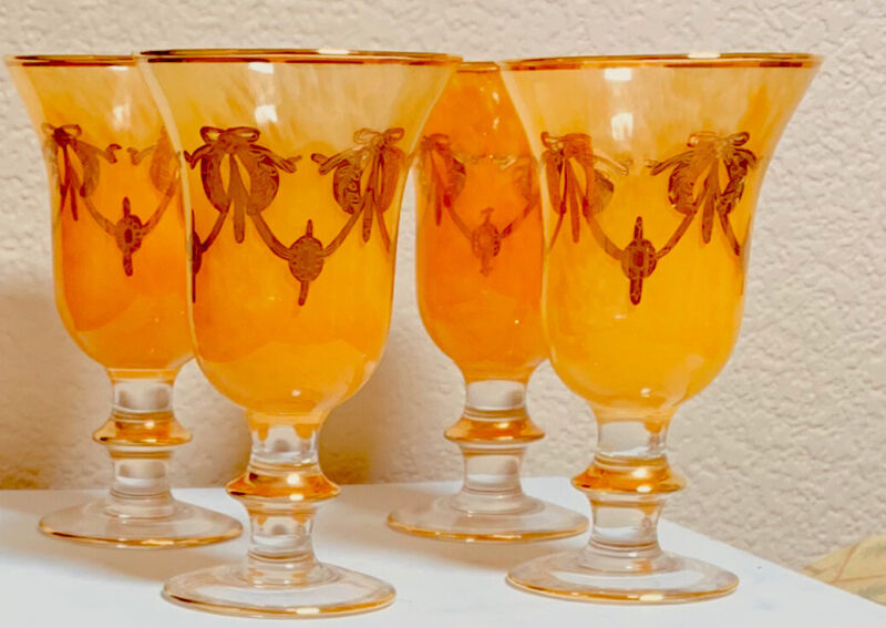 ITALIAN INTERGLASS MARBELD WATER GOLBLETS WITH 24 KT GOLD DECORATION.