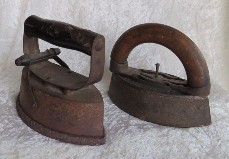 Stove Top Heated Antique Irons Detachable Wood Handles Primitive Cast Iron Tools