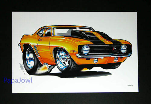 """Muscle Machines Print Art Poster 1969 Chevrolet Camaro Rohan Day 11"""" by 17"""""""