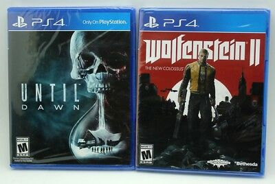 (2) PS4 Playstation 4 Wolfenstein II New Colossus & Until Dawn Sealed Games