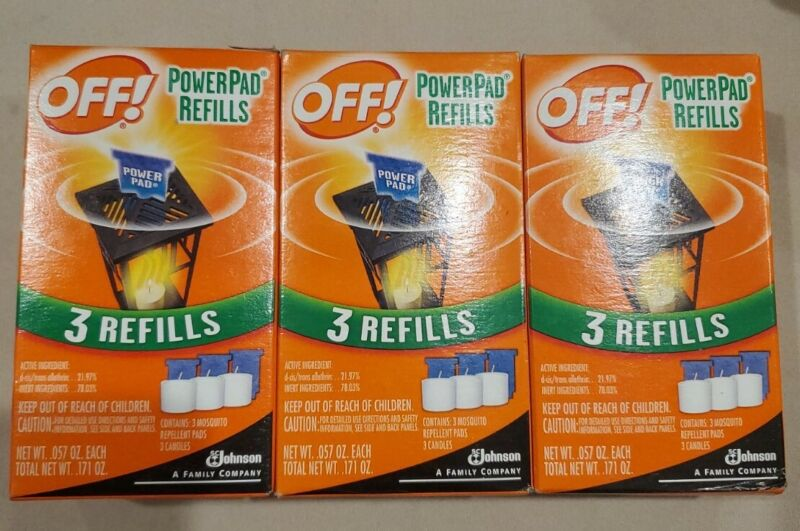 3 Pack OFF PowerPad Refills Repellant Pads & Candles for Mosquitos 3 Refill Each
