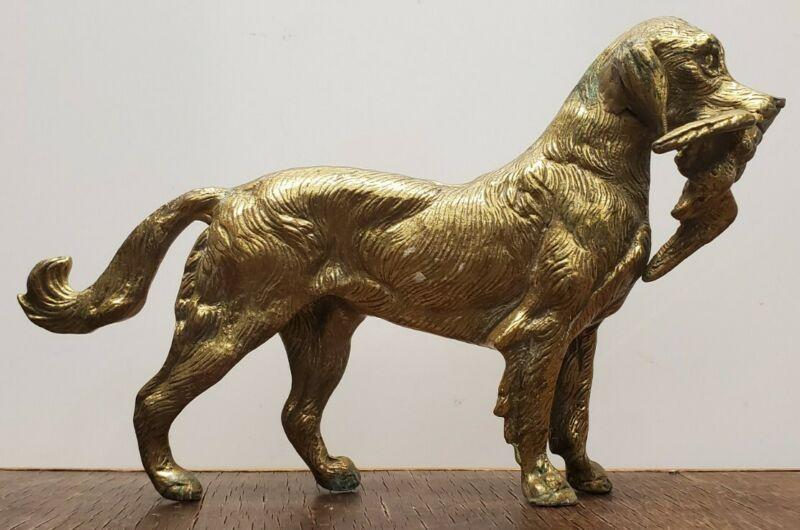 Brass Retriever Dog With Duck Statue