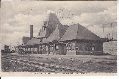 Keokuk Iowa IA Union Train Station Lee CO near Fort Madison Burlington 1908 PC