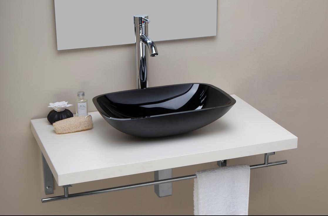 Lavabo lavamano bagno d'appoggio in vetro di colore nero rettangolare cm 45