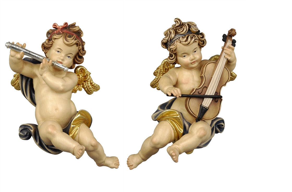 Putti 2 Angels F L Players From Wall In Wood