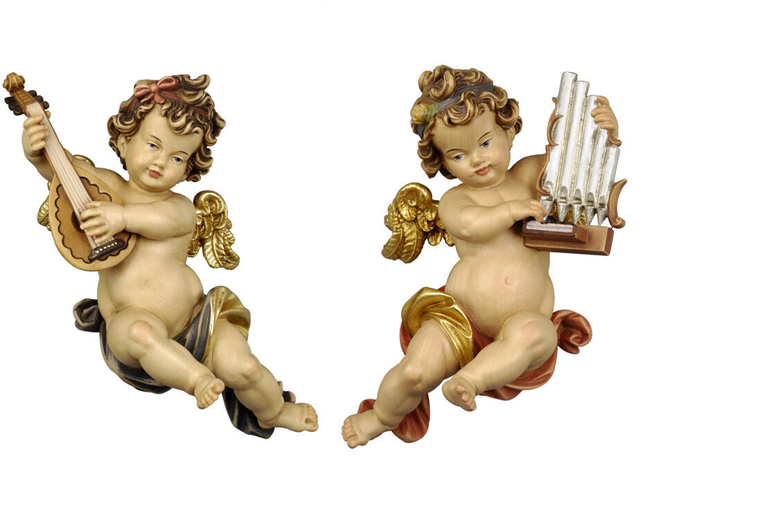 Putti 2 Angels OR M Players From Wall In Wood