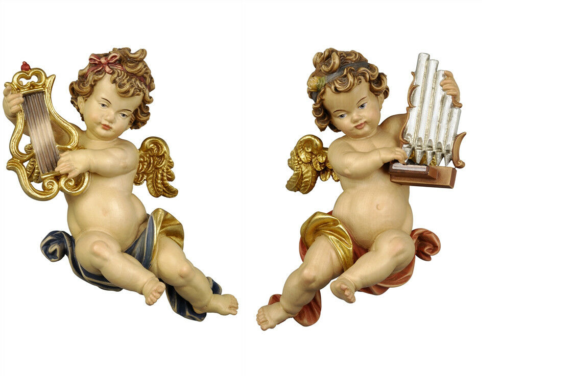 Putti 2 Angels TO Or Players From Wall In Wood