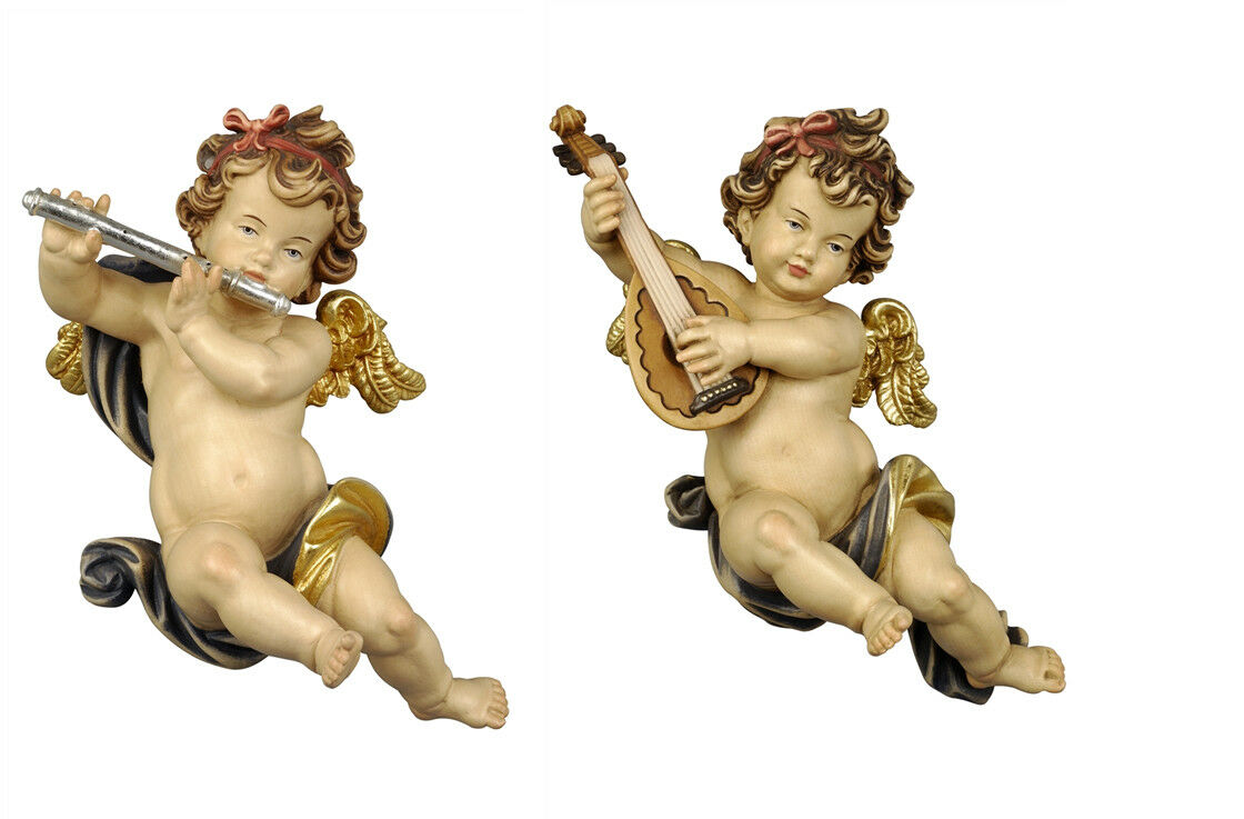 Putti 2 Angels F M Players From Wall In Wood