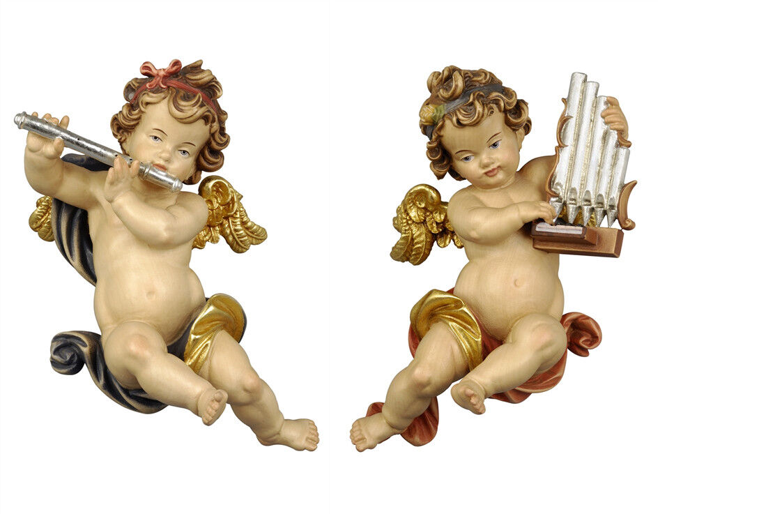 Putti 2 Angels Or F Players From Wall In Wood