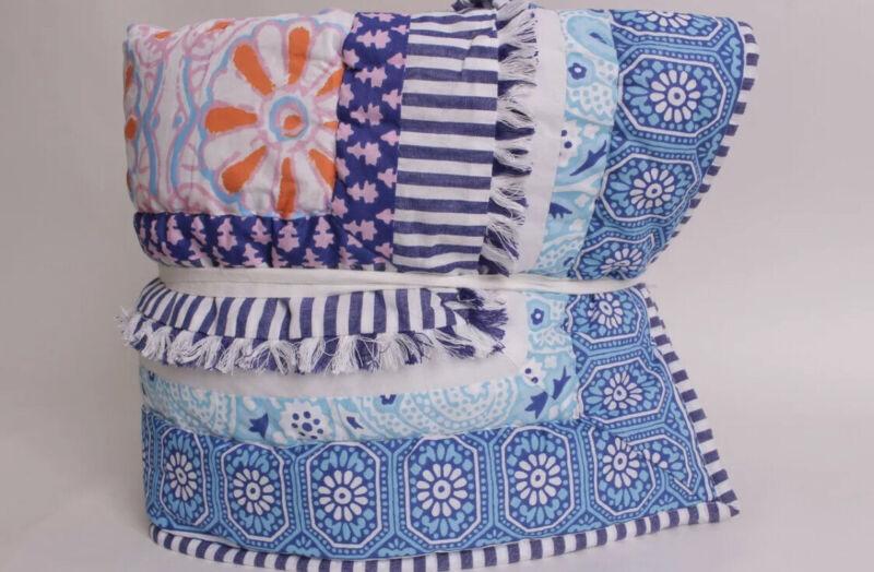 NWT Pottery Barn Kids Zadey Toddler Crib Quilt Comforter Pink Blue Orange