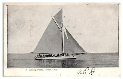 1907 A Sailing Party and Yacht, Ocean City, NJ Postcard