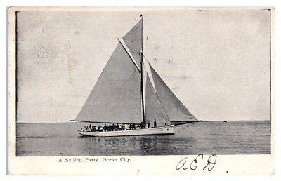 1907 A Sailing Party and Yacht, Ocean City, NJ Postcard - Party City Nj