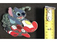 2009 Disney Stitch Riding Spaceship Pin With Packing Only