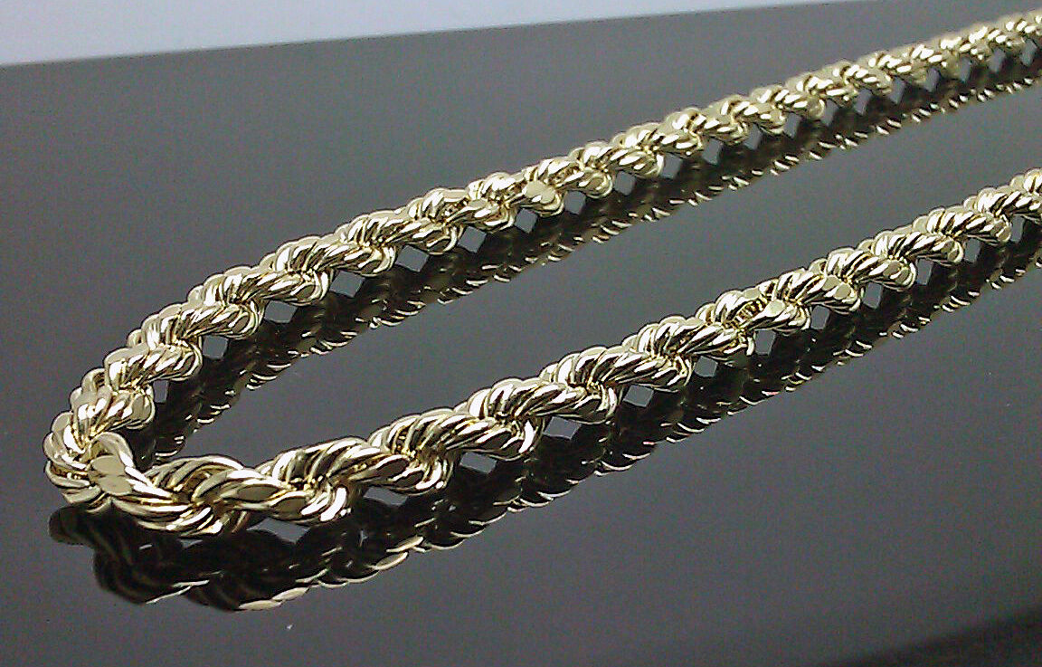Real 10K Gold Rope Chain Necklace For Men 6mm 20 Inch Real Gold
