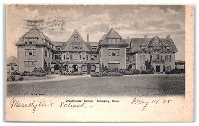 1908 Westminster School  Simsbury  Ct Postcard
