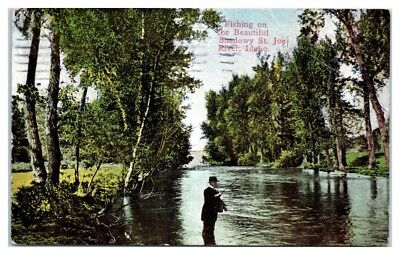 1912 Fishing on the Shadowy St. Joe River, ID Postcard