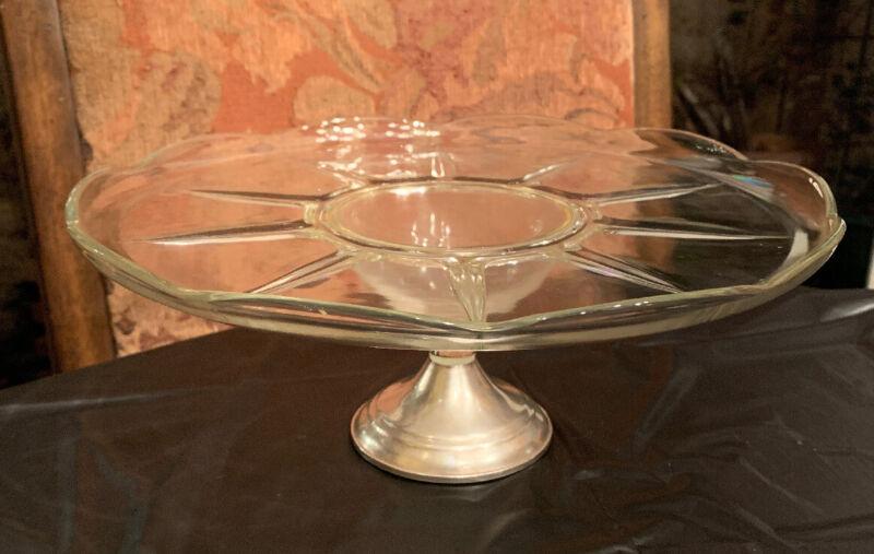 Vintage Duchin Creation Sterling Silver Cake Stand Glass Crystal Dessert Dish