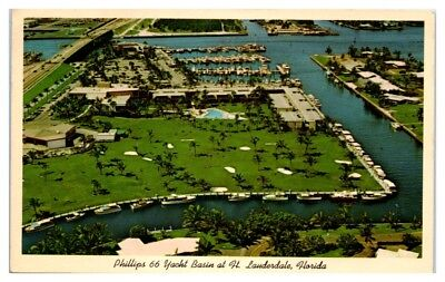 1963 Phillips 66 Yacht Basin at Fort Lauderdale, FL Postcard