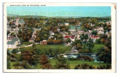 1939 Bird's-Eye View of Maynard, MA Postcard