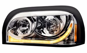 Freightliner Century LED Marker/Turn Chrome Headlight Assembly - Driver Side