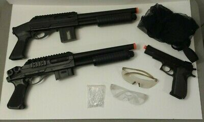 3 Used Airsoft Guns - 2 Shotguns Tactical, 1 Pistol Hand Gun - Glasses, BBs Bag