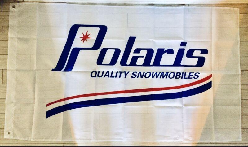 POLARIS VINTAGE SNOWMOBILE SLED FLAG BANNER 3x5ft DRAPEAU MAN CAVE GARAGE TX