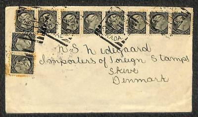 TORONTO CANADA SCOTT #34 (x10) STAMPS TO SKIVE DENMARK COVER 1896 for sale  Shipping to India
