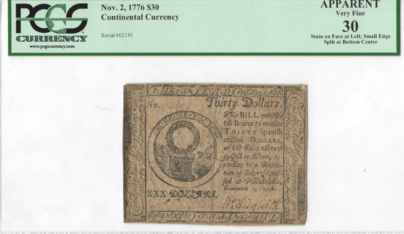 Continental Currency Fr#CC-54 Nov. 2, 1776 $30 PCGS 30 Better Note