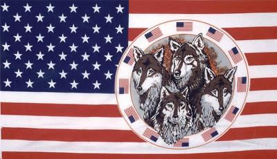 USA CIRCLE OF WOLVES 3X5 FLAG FL309 banner WOLF w grommets united states us NEW