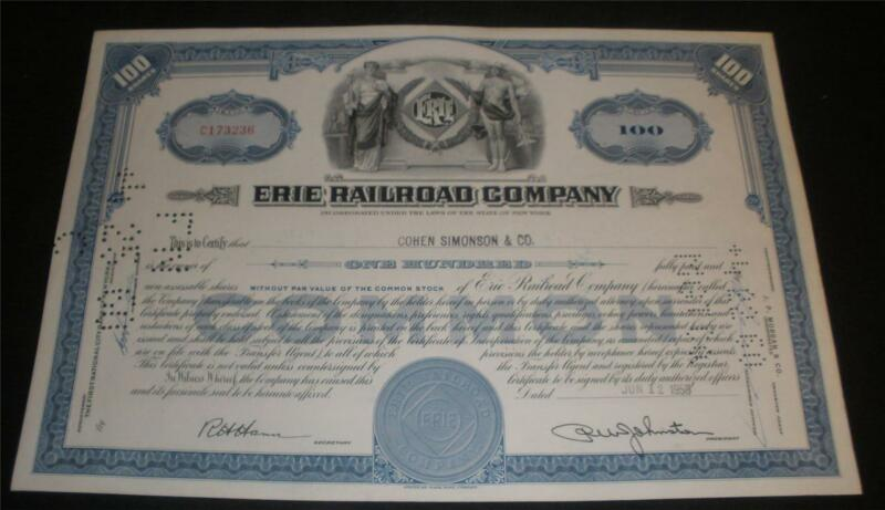 Erie Railroad Company Stock Certificate Collectors Quality  condition 1958