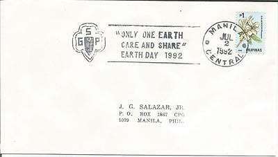 Philippines Pilipinas  Earth Day 1992  Manila Central Kalachuchi Plumeria  Cover