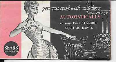sears 1961 kenmore electric range fold out pamphlet