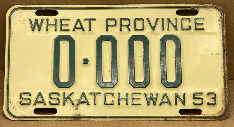 ORIGINAL 1953 •CANADA SASKATCHEWAN• SAMPLE LICENSE PLATE ( 0-000 ) SHIPS FREE